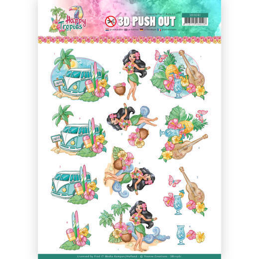 3D Pushout - Yvonne Creations - Happy Tropics -Tropical Holiday