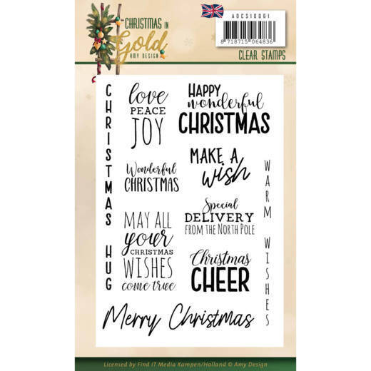 Clear Stamps - Amy Design - Christmas in Gold - Text EN