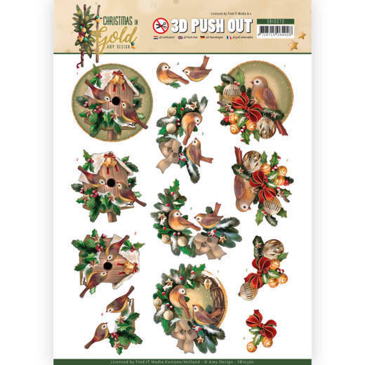 3D Pushout - Amy Design - Christmas in Gold - Birds in Gold  Amy Design
