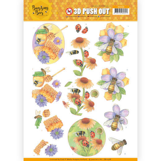 3D Pushout - Jeanines Art - Buzzing Bees - Sweet Bees