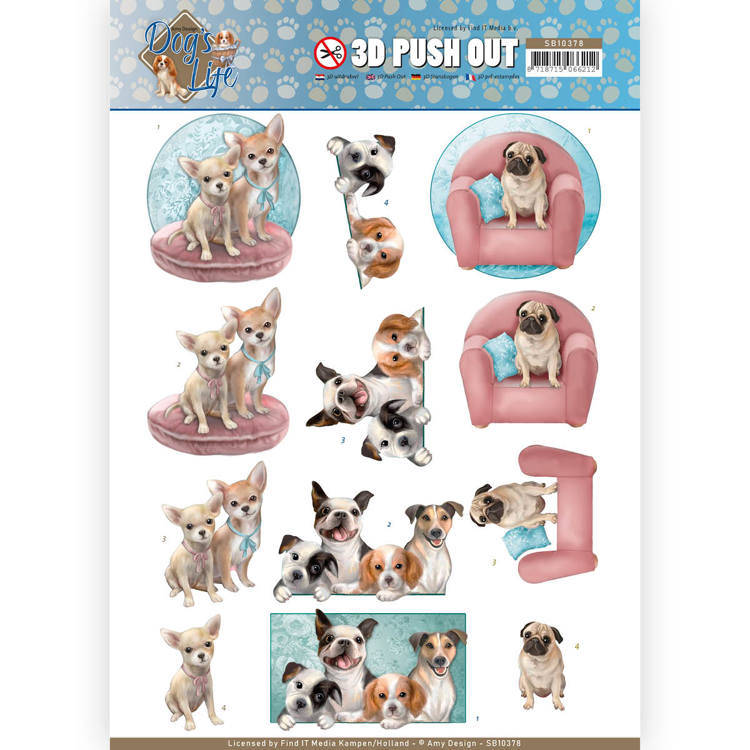 3D Pushout - Amy Design - Dog's Life - All kind of Dogs  Amy Design  SB10378