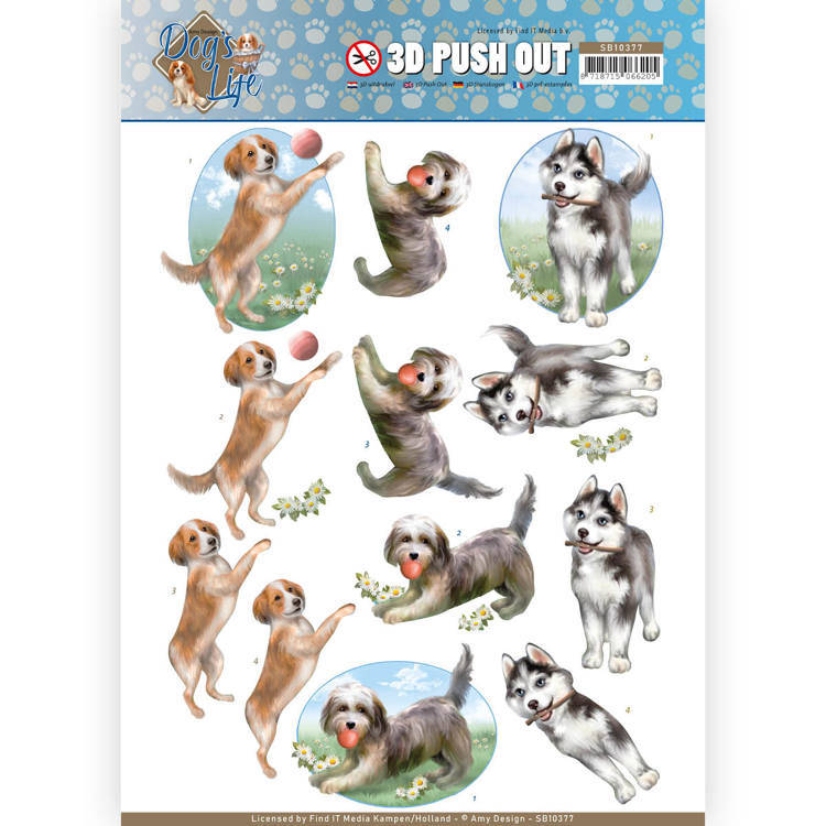 3D Pushout - Amy Design - Dog's Life - Playing Dogs