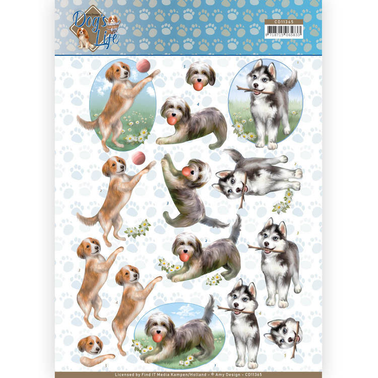 3D Knipvel - Amy Design - Dogs Life - Playing Dogs  Amy Design  CD11365