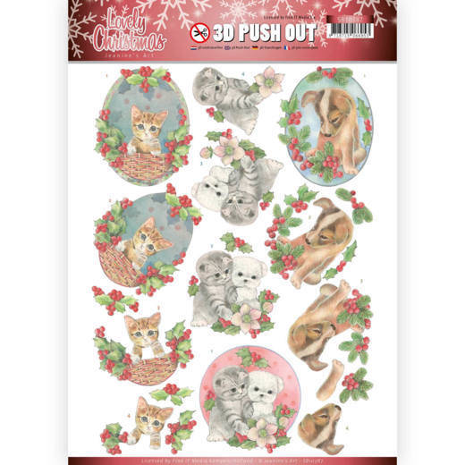 3D Pushout - Jeanine's Art - Lovely Christmas - Lovely Christmas Pets SB10387