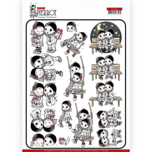 3D cutting sheet - Yvonne Creations - Petit Pierrot - Happy Together