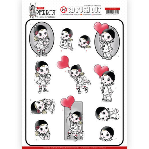 3D Pushout - Yvonne Creations - Petit Pierrot - With Love