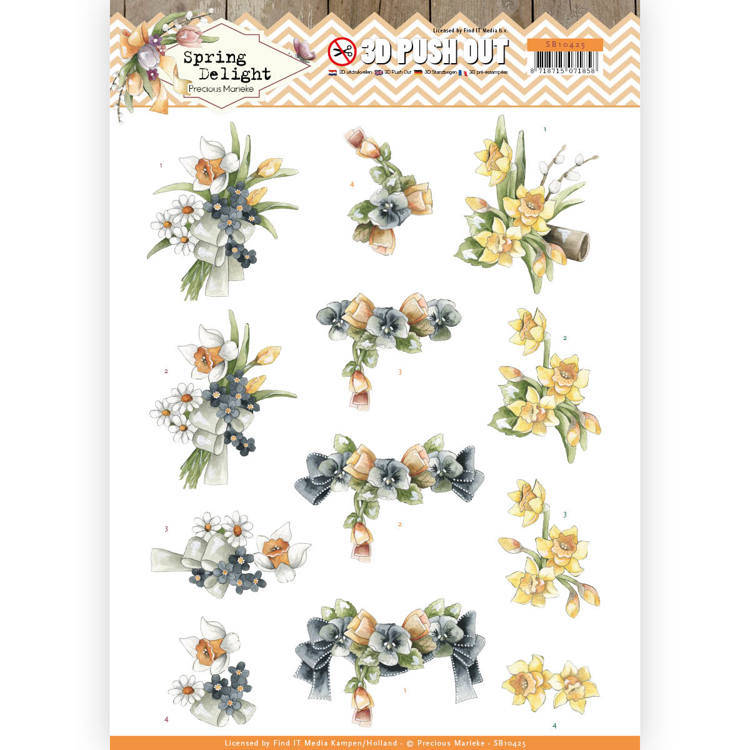 3D Pushout - Precious Marieke - Spring Delight - Violets and Daffodils