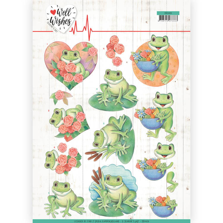 3D Cutting sheet - Jeanine's Art - Well Wishes - Frogs