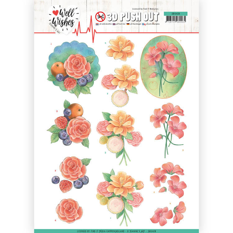 3D Pushout - Jeanine's Art - Well Wishes - A Bunch of Flowers