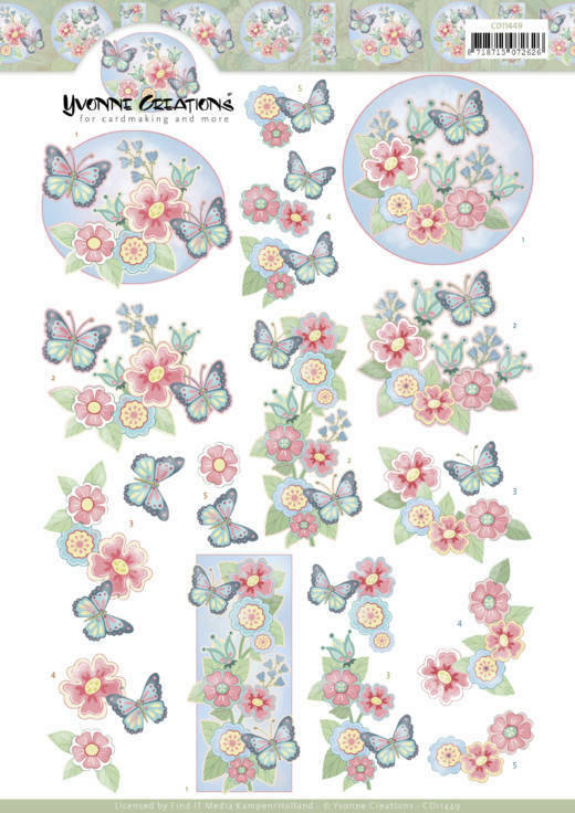 3D cutting sheet - Yvonne Creations - Funky Butterfly