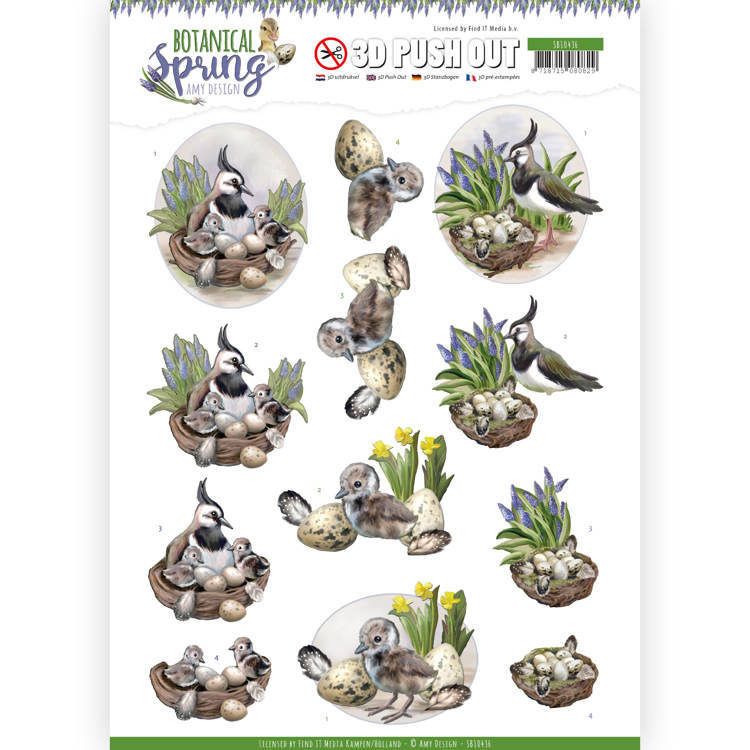 3D Pushout - Amy Design - Botanical Spring - Lapwing