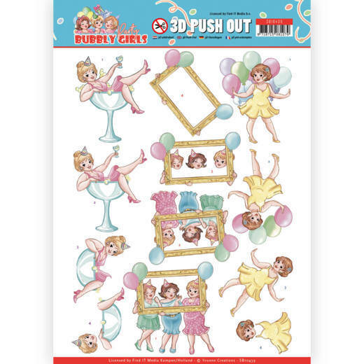 3D Pushout - Yvonne Creations - Bubbly Girls - Party - Let's have fun