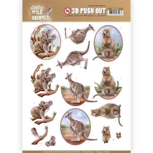 3D Pushout - Amy Design - Wild Animals Outback - Kangaroo
