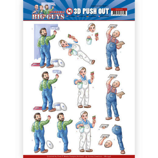 3D Push Out - Yvonne Creations - Big Guys - Workers - Handyman