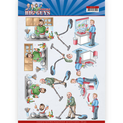 3D Cutting sheet - Yvonne Creations - Big Guys - Workers - Big Cleaning