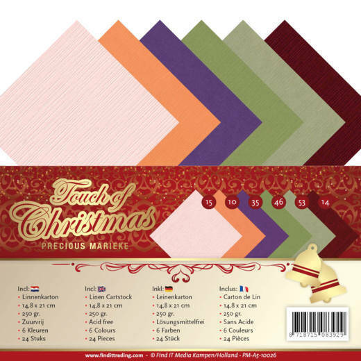 Linen Cardstock Pack - A5 - Precious Marieke - Touch of Christmas