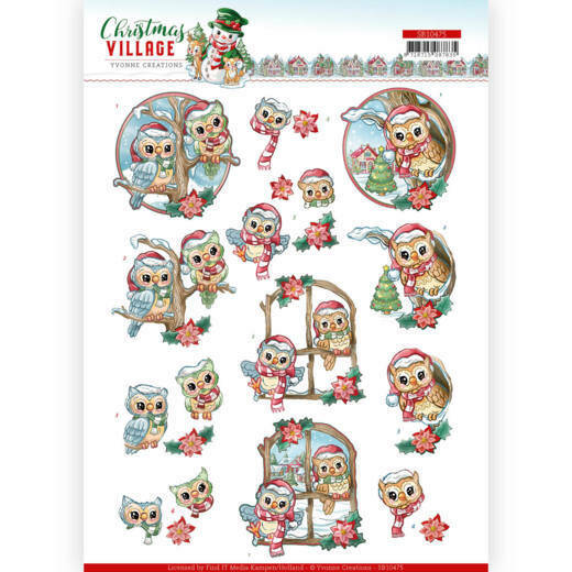 3D Push Out - Yvonne Creations - Christmas Village - Christmas Owls