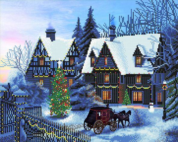 "CAK-XLED12 ""Home for Christmas"" Framed LED Crystal Art Kit"