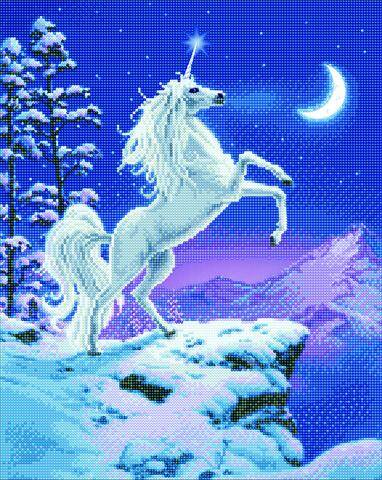 "CAK-XLED14: ""Moonlight Unicorn"" Framed LED Crystal Art Kit"