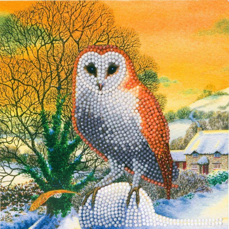 "CCK-XM60: ""WINTER OWL"", 18X18CM CRYSTAL ART CARD"