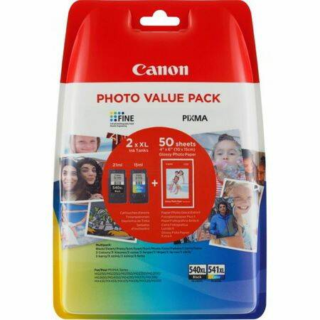 Canon PG-540XL / CL-541XL Photo Value Pack Eredeti Tintapatron Fekete + Tri-color + Fotópapír (358160)