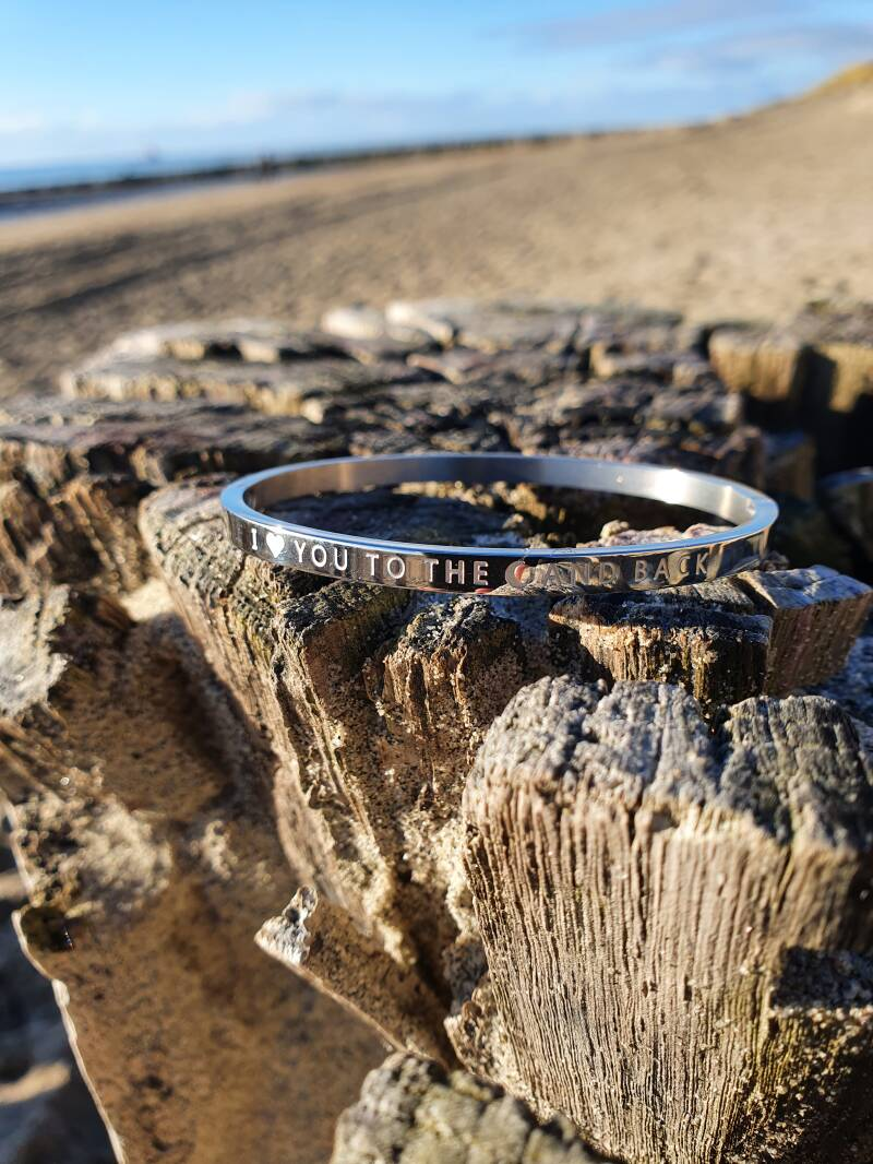 RVS Bangle zilver I love you to the moon - Mykk Jewelry