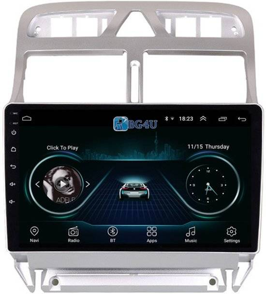 Navigatie radio Peugeot 307 2004-2013, Android 8.1, Apple Carplay, 9 inch scherm, Canbus,