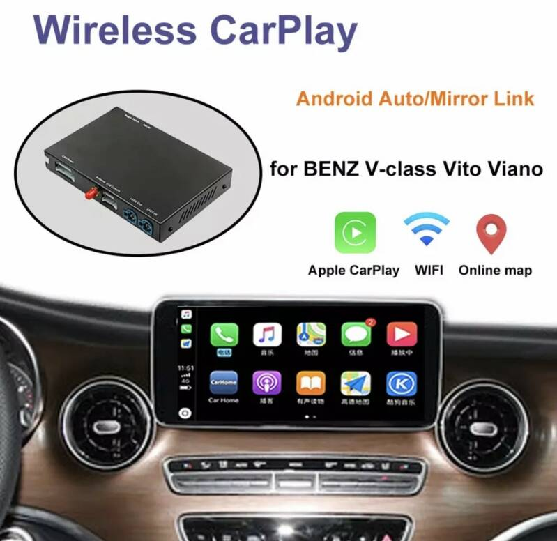 Carplay Mercedes Benz V-Klasse W447 2014-2018 Vito Viano, met Android Auto Spiegel Link Airplay Auto Play Functies Draadloze Carplay