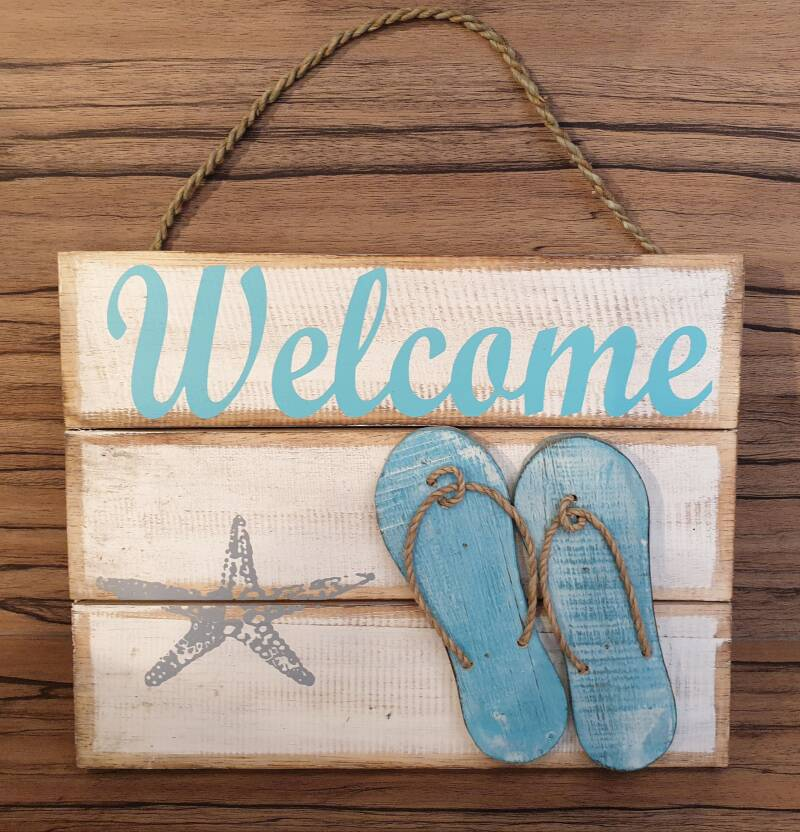 Welcome bord met slippers