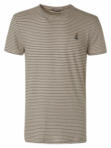 T-SHIRT CREWNECK YARN DYED STRIPE WITH LINEN