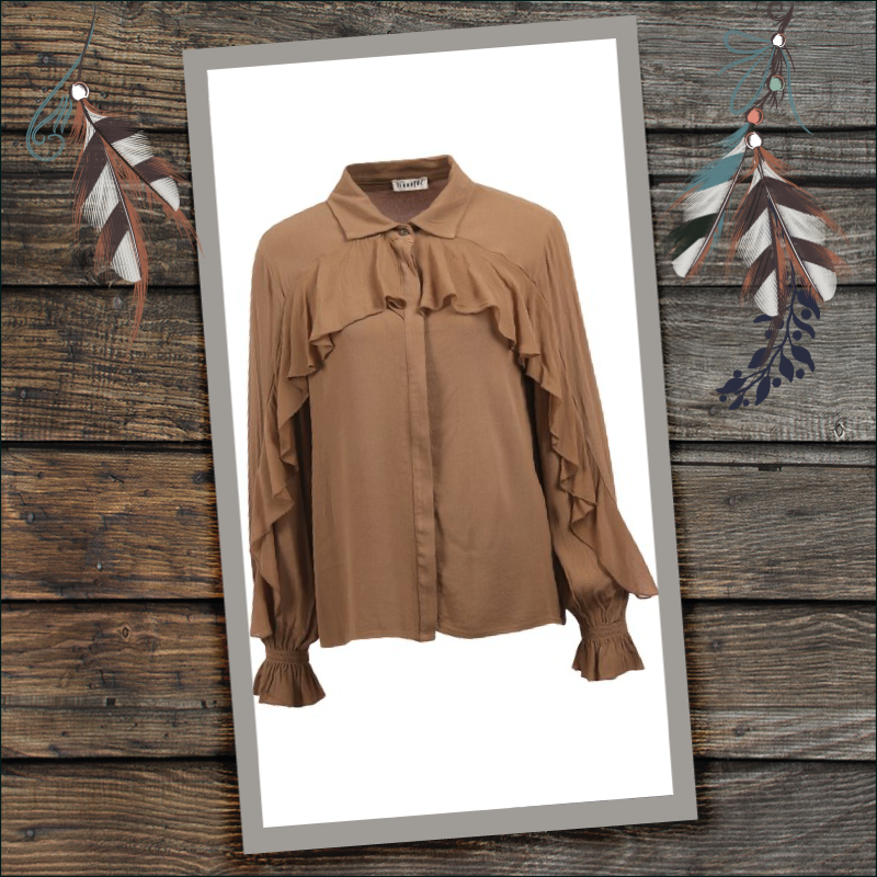 Transfer blouse met ruches camel