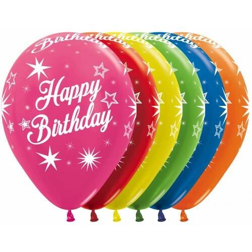 happy birthday - fashion colours assortiment , witte opdruk  - per 6 stuks