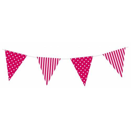 vlag -dots & stripes - 3.6 m lang - fuchsia/wit