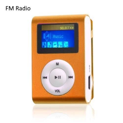Mini clip MP3 speler FM radio display Oranje