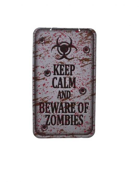 Wanddecoratie Keep Calm and beware of zombies