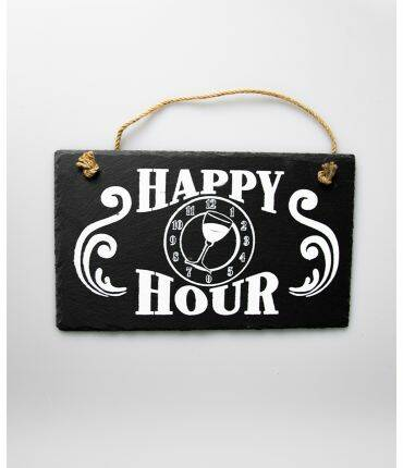 Wandbord leisteen Happy Hour