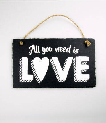 Wandbord leisteen All you need is love