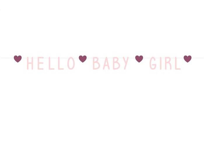 "Letterslinger Pink Hearts ""Hello Baby Girl"""
