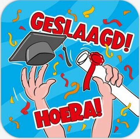 Huldeschild Geslaagd cartoon