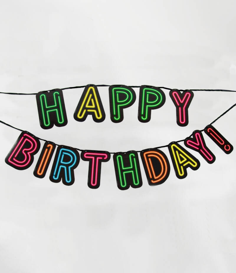 Neon letterslinger Happy Birthday