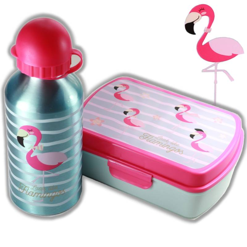 Lunchset Flamingo blauw