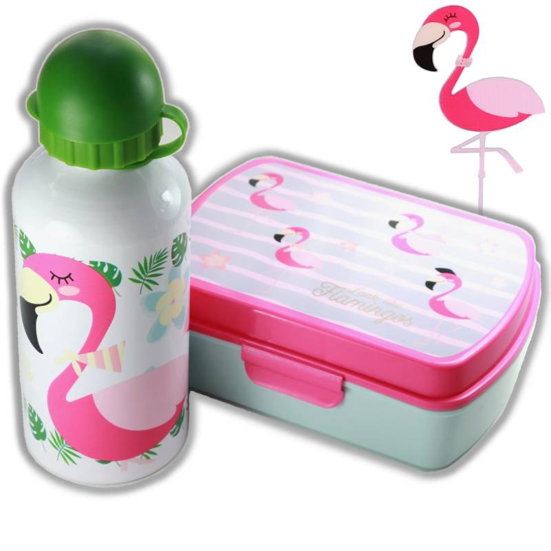 Lunchset Flamingo wit | Broodtrommel + drinkfles 500ml in leuke geschenkverpakking | LS10