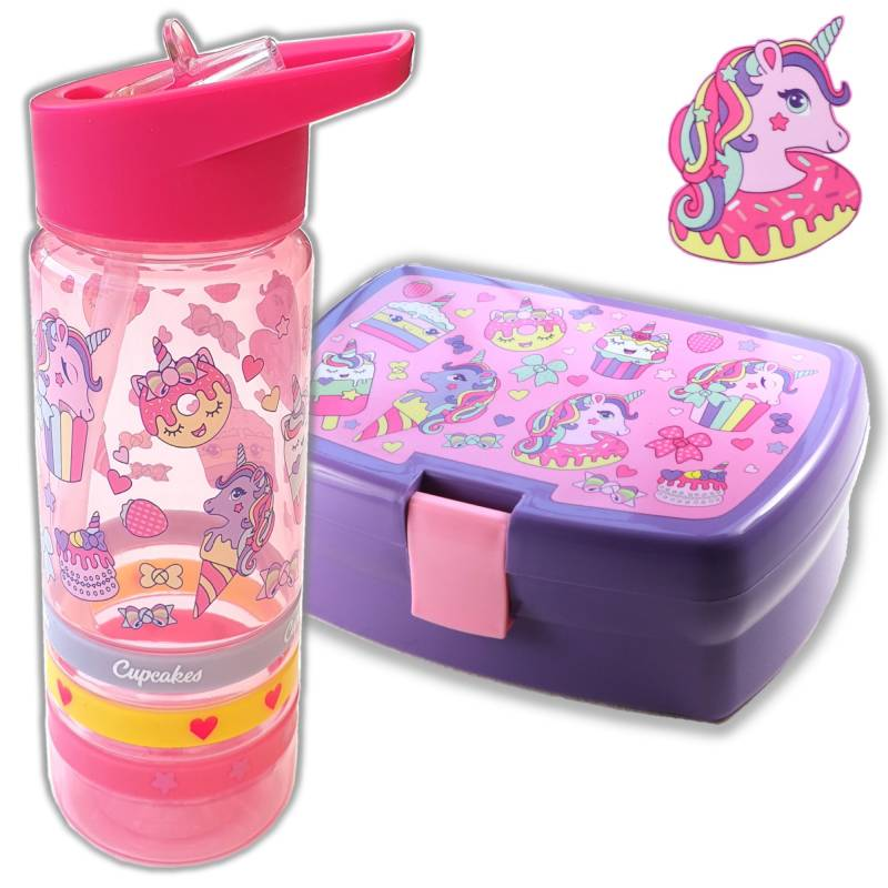 Broodtrommel + drinkfles Unicorn cupcake | Lunchbox kinderen LS04