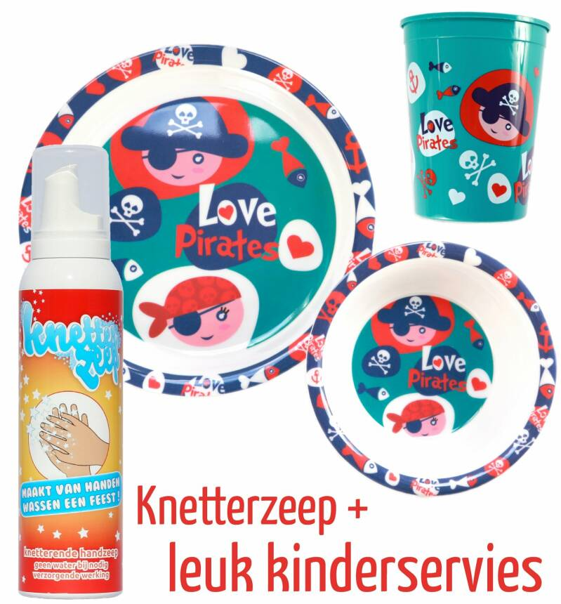 Knetterzeep + kinderservies 'piraten'