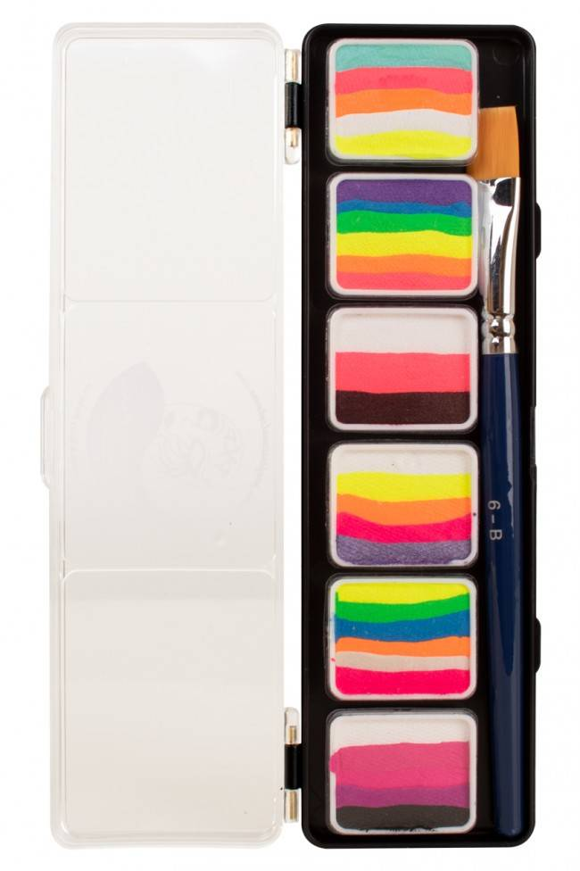 PXP Professional Colours Special FX 6 x 6 gram splitcake palet with a brush size 6 - B.