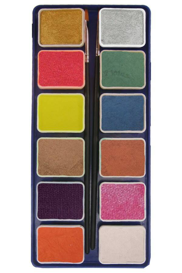 PXP Professional Colours palet metallic colours 12 x 6 gram with 2 brushes ( liner size 0 , flat size 1)