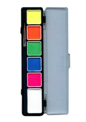 PXP Professional Colours Special FX palet neon colours 5 x 3 and 1 x 6 gram with brush size 2