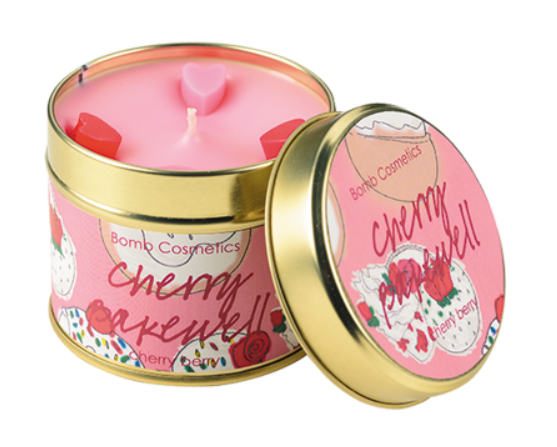 cherry bakewell tinned candle