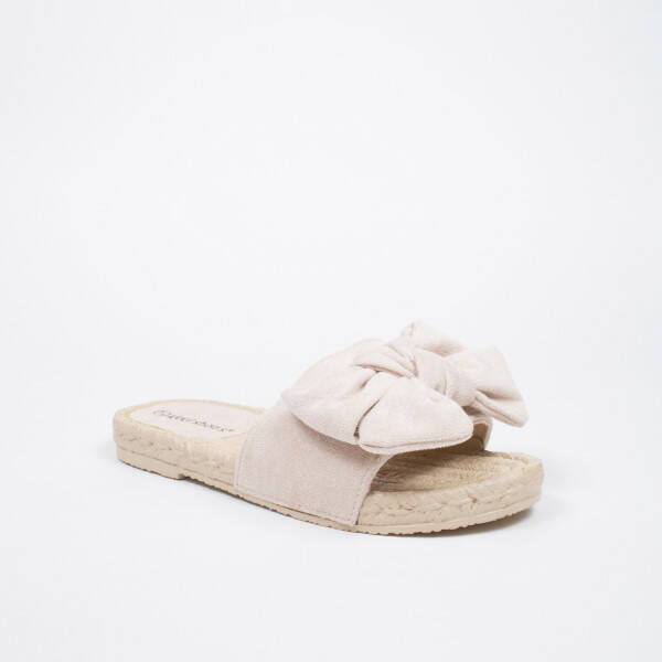 bow slippers beige