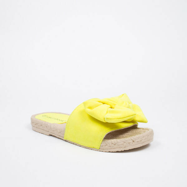 bow slippers yellow